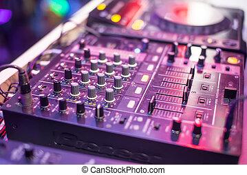 DJ turntable in a night club