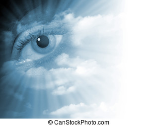 Fading eye abstract - Surreal eye abstract in sky fading to...