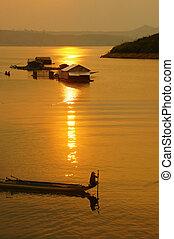 Vietnamese rural, lake  at sunset