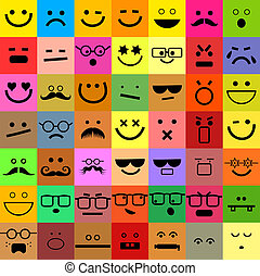 Avatar Emoticon Set - A set of colorful square shaped web...