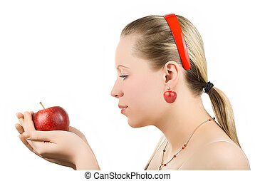 Lovely woman with apple