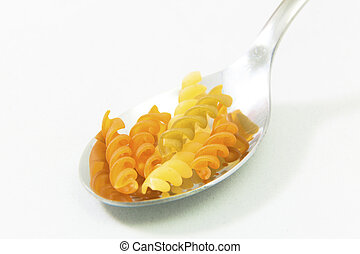 Pasta on a spoon in white background