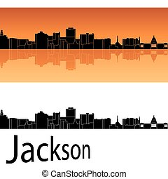 Jackson skyline in orange background in editable vector file