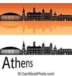 Athens skyline in orange background