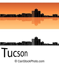 Tucson skyline in orange background in editable vector file