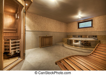 Interior sauna and jacuzzi in contemporary house