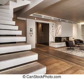 Stairs in modern apartment in white - White stairs and...