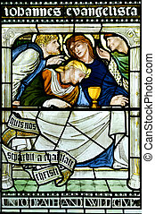Last Supper Stained Glass Window - Stained glass window...