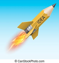 Yellow pencil as flying rocket - Creative design concept...