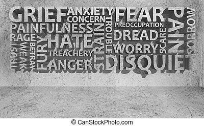 3D, parete, di, cattivo, sensazione, e, emotio,