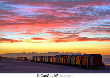 Beach huts 2 - Beach huts at the town of Muizenberg near...