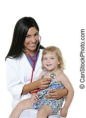 Brunette pediatric doctor with blond little girl