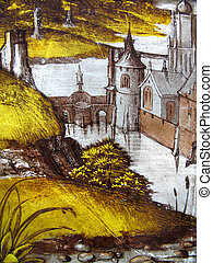 Medieval Stained Glass Landscape - Landscape image on a...