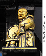 Medieval Monk - Medieval wooden exterior detail from an old...