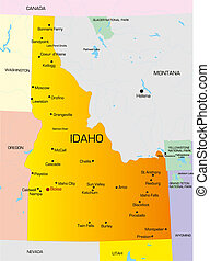 Idaho - color map of Idaho state Usa