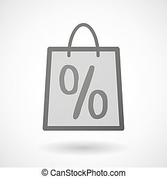 Shopping bag icon with a discount sign