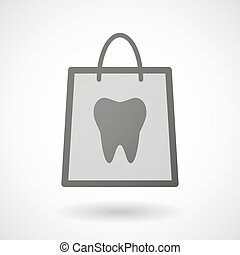 Shopping bag icon with a tooth - Illustration of a shopping...