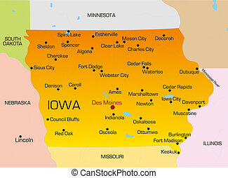 Iowa  - color map of Iowa state. Usa