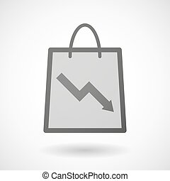 Shopping bag icon with a graph