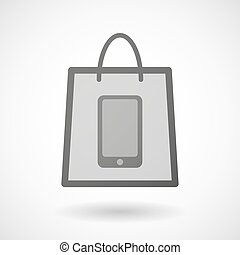 Shopping bag icon with a phone