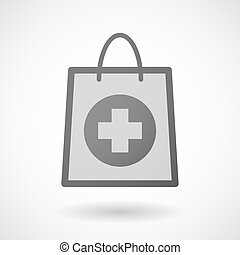 Shopping bag icon with a pharmacy sign - Illustration of a...