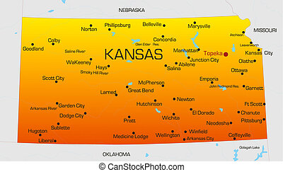 Kansas - color map of Kansas state Usa