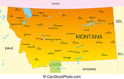 Montana - color map of Montana state Usa