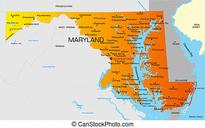 Maryland  - color map of Maryland state. Usa