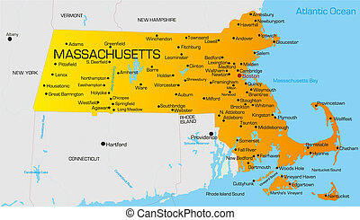Massachusetts - color map of Massachusetts state. Usa