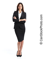 Full body portrait of a confident business woman isolated on...