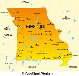 Missouri  - color map of Missouri state. Usa
