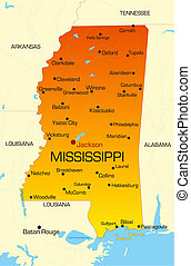 Mississippi - color map of Mississippi state Usa