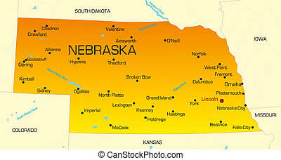 Nebraska - color map of Nebraska state Usa