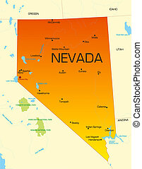 Nevada - color map of Nevada state Usa
