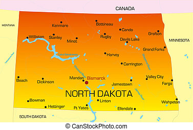 North Dakota - color map of North Dakota state. Usa