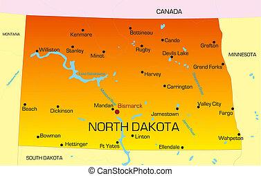 North Dakota - color map of North Dakota state. Usa