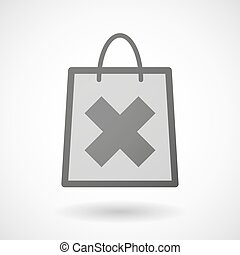 "Shopping bag icon with an ""x"" sign - Illustration of a..."