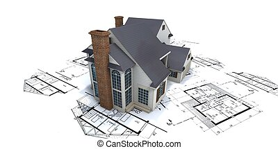Residential house on top of architect blueprints 2