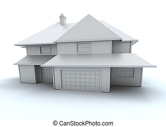 White model house frontal view - 3D rendering of an...