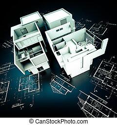 Designer Modern building on blueprints - 3D rendering of a...