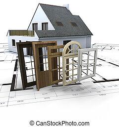 Windows and doors choice - House on blueprints with a choice...