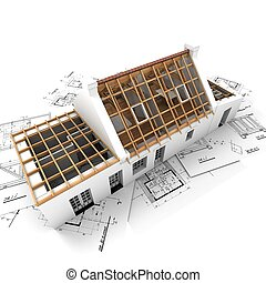 Residential roof structure with wooden beams - 3D rendering...