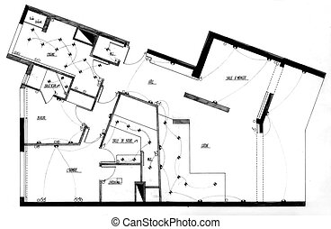 House plan - Aerial view of a house plan