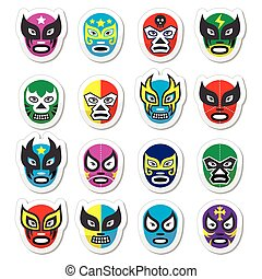 Lucha libre, luchador mexican wrest - Vector icons set of...