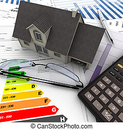 House purchase proceedings - A house on top of a table with...