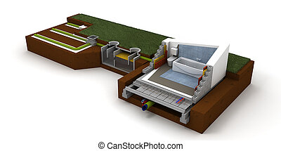 Home sewage system - 3D rendering of a house cross section...