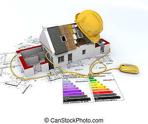 Energy efficient construction - 3D rendering of a house in...