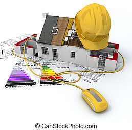 Environment friendly construction - 3D rendering of a house...