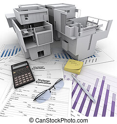 Property investment process - A building on top of a table...