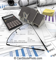 Home purchase - A house on top of a table with mortgage...